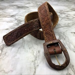 Vintage Handmade Mexican Brown Leather Wood Belt